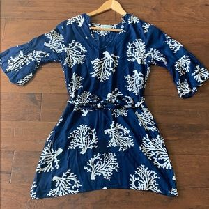 Navy blue and white coral dress.